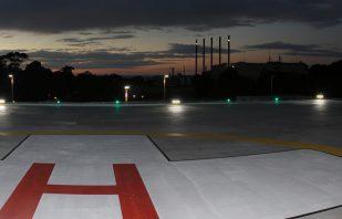 Avlites DC Floodlight illuminates hospital roof top helipad