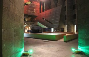 Green TLOF Helipad Lights line the boundary of the National Gallery of Victoria Melbourne