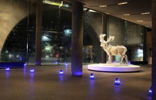 Blue Solar Taxiway Lights at National Gallery Victoria Melbourne